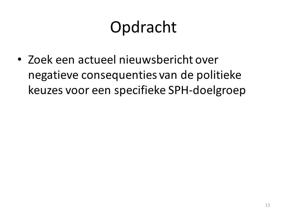 Opdracht Zoek een actueel nieuwsbericht over negatieve consequenties van de politieke keuzes voor een specifieke SPH-doelgroep.