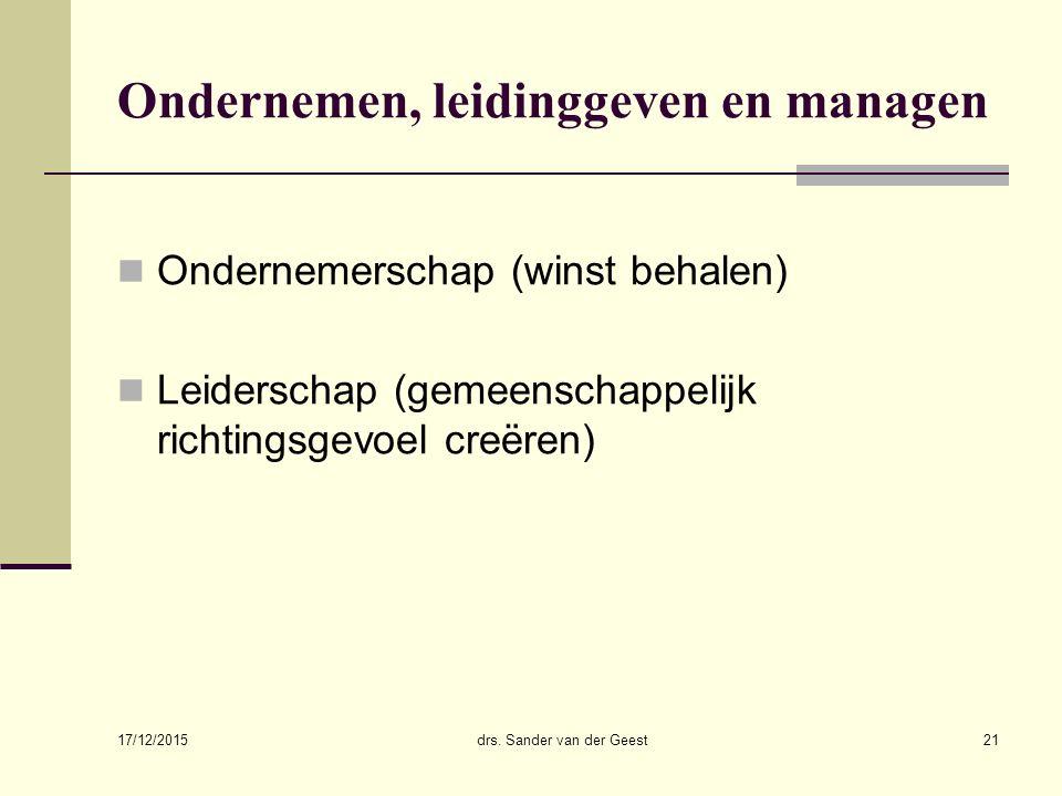 Ondernemen, leidinggeven en managen
