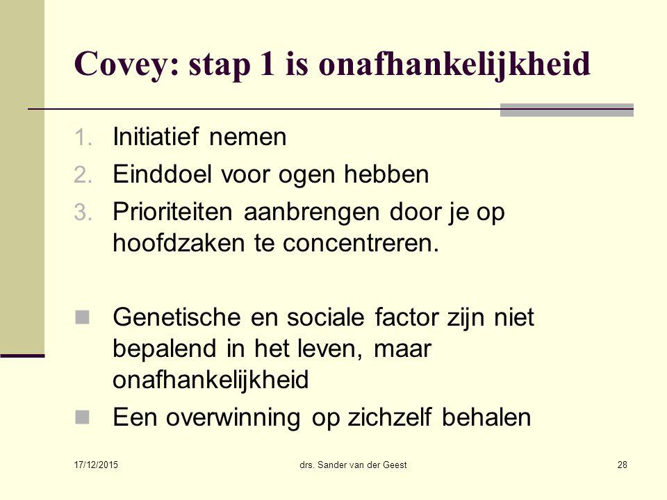 Covey: stap 1 is onafhankelijkheid
