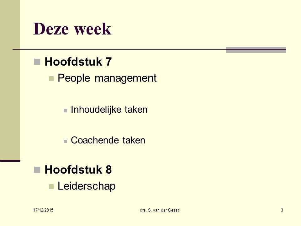 Deze week Hoofdstuk 7 Hoofdstuk 8 People management Leiderschap