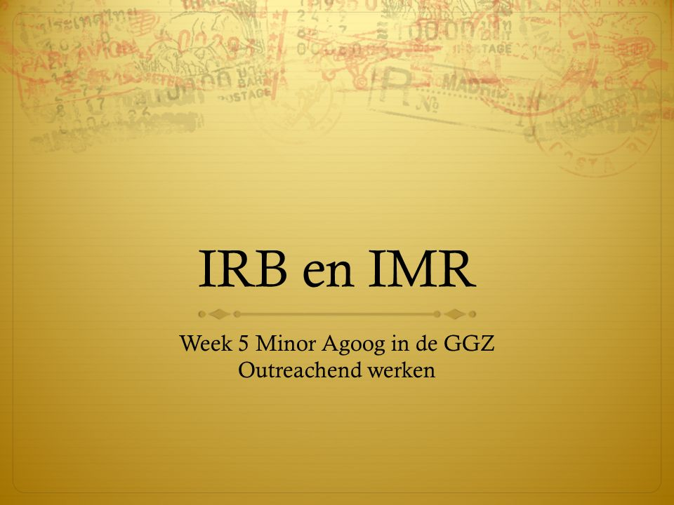 Week 5 Minor Agoog in de GGZ Outreachend werken