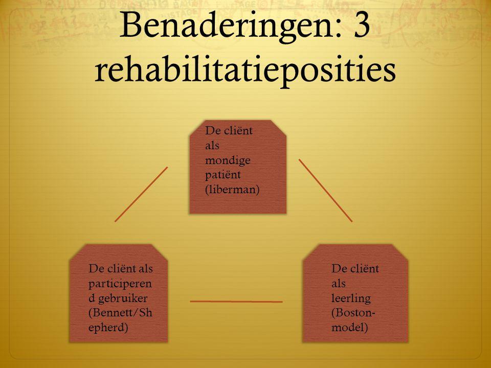 Benaderingen: 3 rehabilitatieposities