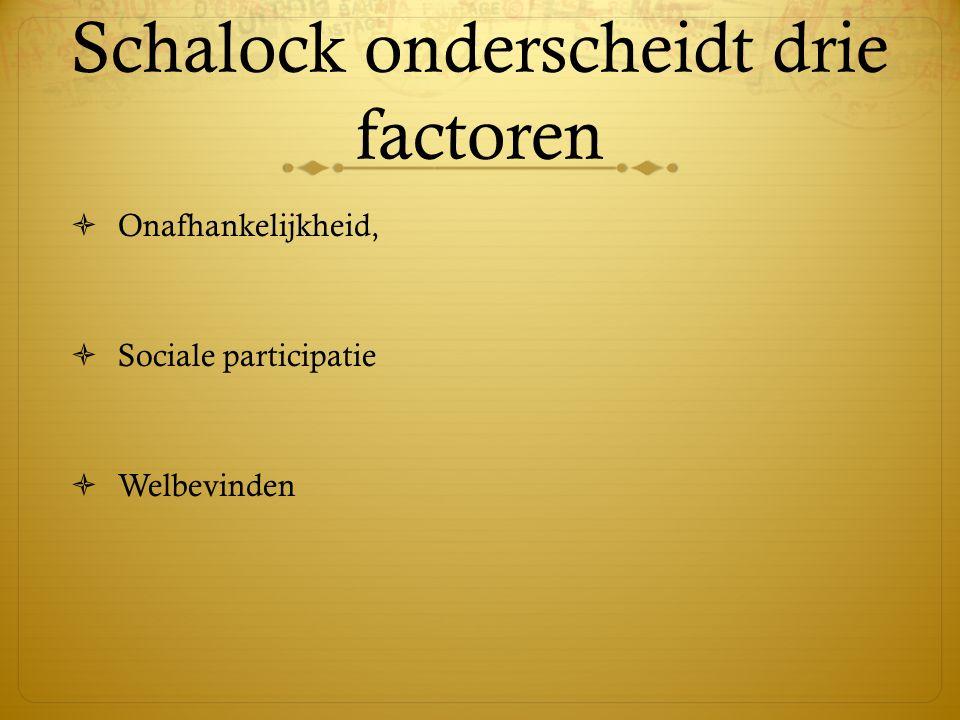 Schalock onderscheidt drie factoren