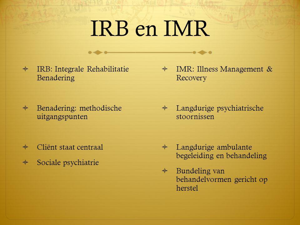 IRB en IMR IRB: Integrale Rehabilitatie Benadering
