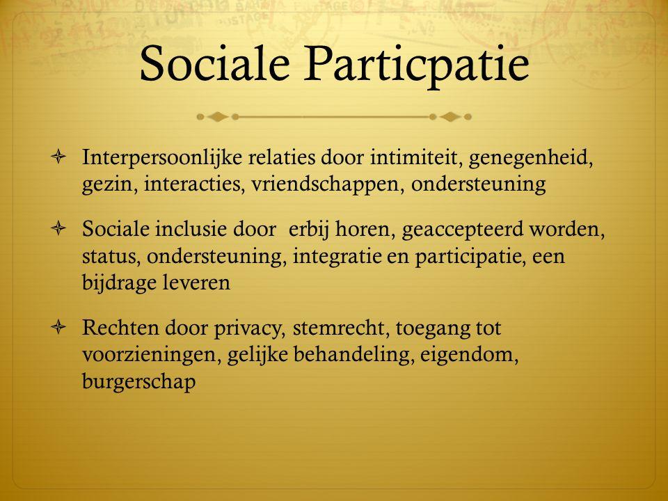 Sociale Particpatie Interpersoonlijke relaties door intimiteit, genegenheid, gezin, interacties, vriendschappen, ondersteuning.