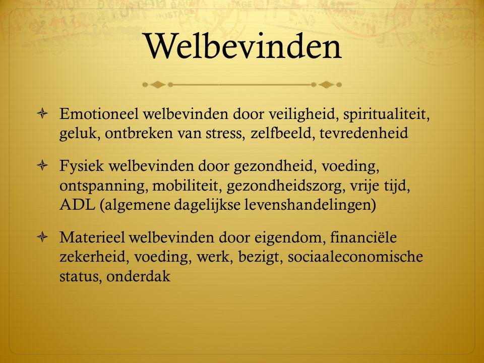 Welbevinden Emotioneel welbevinden door veiligheid, spiritualiteit, geluk, ontbreken van stress, zelfbeeld, tevredenheid.