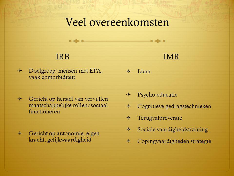 Veel overeenkomsten IRB IMR