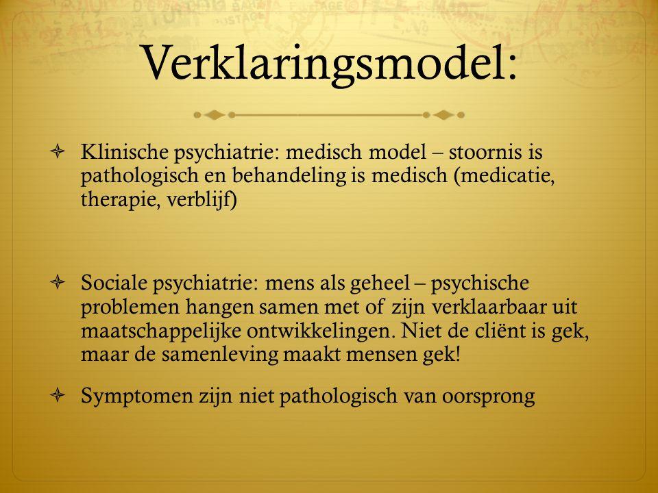 Verklaringsmodel: Klinische psychiatrie: medisch model – stoornis is pathologisch en behandeling is medisch (medicatie, therapie, verblijf)