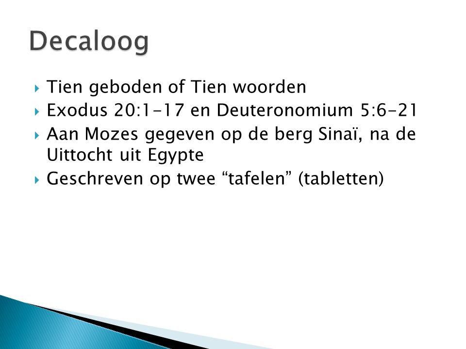 Decaloog Tien geboden of Tien woorden