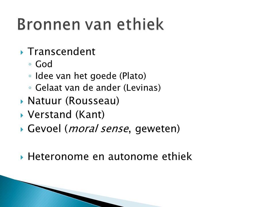 Bronnen van ethiek Transcendent Natuur (Rousseau) Verstand (Kant)