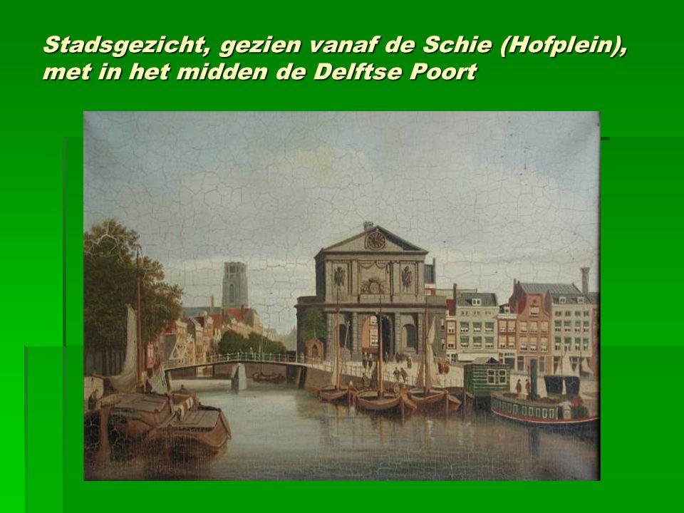 Stadsgezicht, gezien vanaf de Schie (Hofplein), met in het midden de Delftse Poort