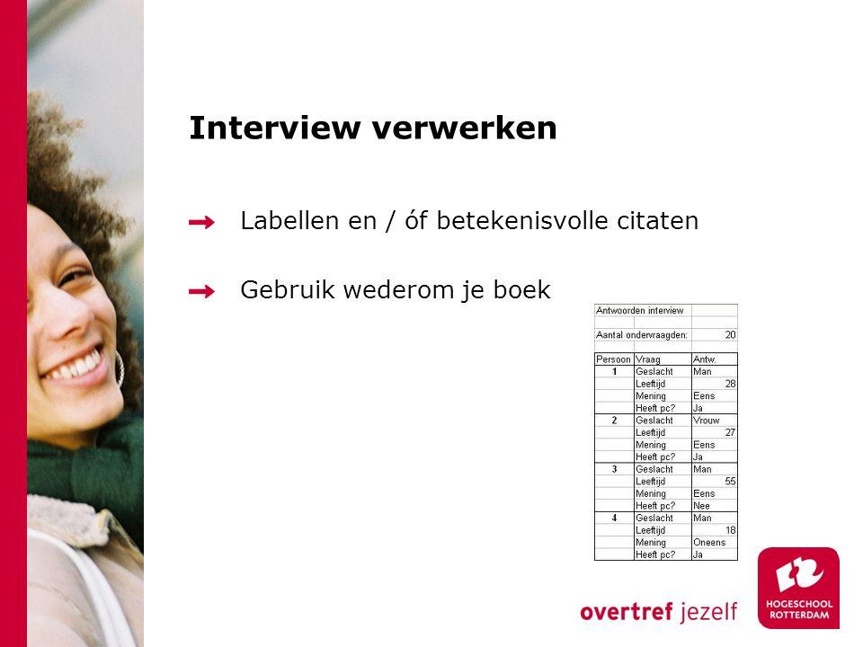 Interview verwerken Labellen en / óf betekenisvolle citaten