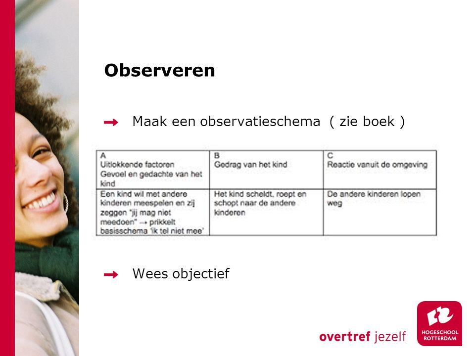 Observeren Maak een observatieschema ( zie boek ) Wees objectief