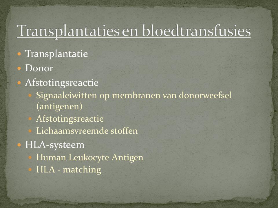 Transplantaties en bloedtransfusies