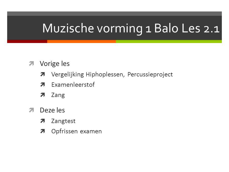 Muzische vorming 1 Balo Les 2.1