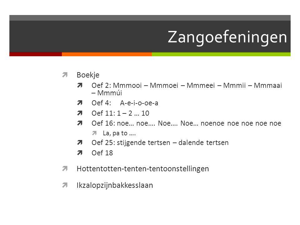 Zangoefeningen Boekje Hottentotten-tenten-tentoonstellingen