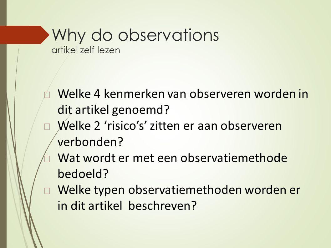 Why do observations artikel zelf lezen