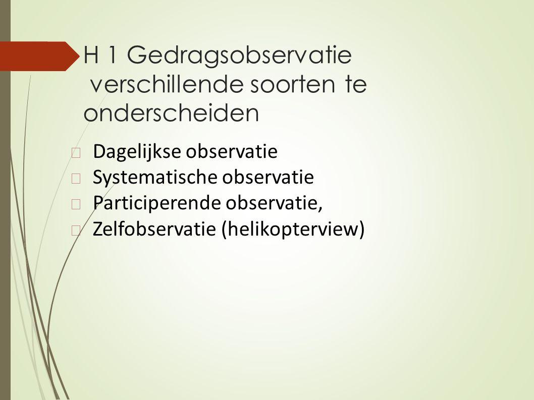 H 1 Gedragsobservatie verschillende soorten te onderscheiden