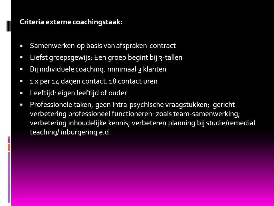 Criteria externe coachingstaak: