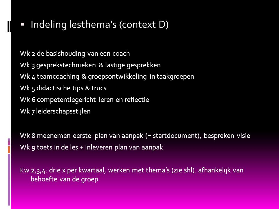 Indeling lesthema's (context D)