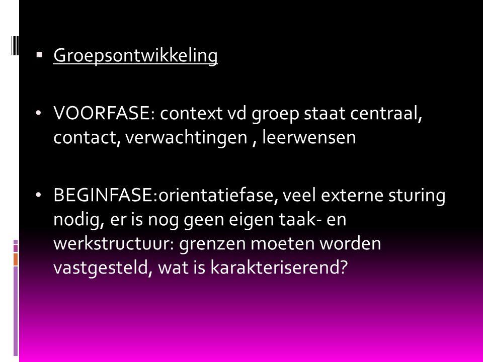 Groepsontwikkeling VOORFASE: context vd groep staat centraal, contact, verwachtingen , leerwensen.