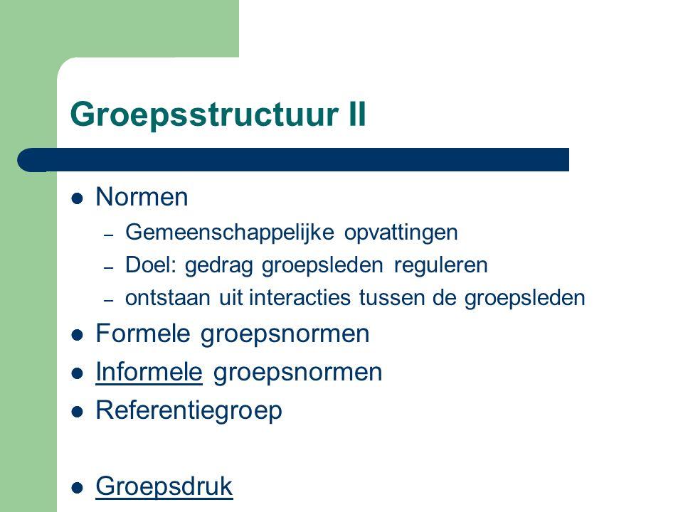 Groepsstructuur II Normen Formele groepsnormen Informele groepsnormen