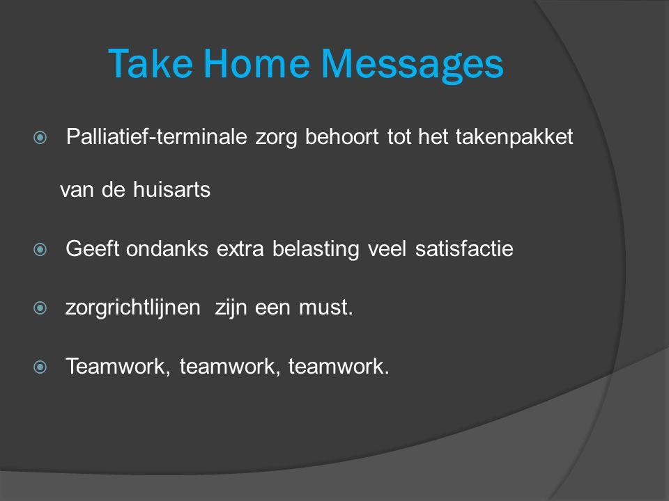 Take Home Messages Palliatief-terminale zorg behoort tot het takenpakket van de huisarts. Geeft ondanks extra belasting veel satisfactie.