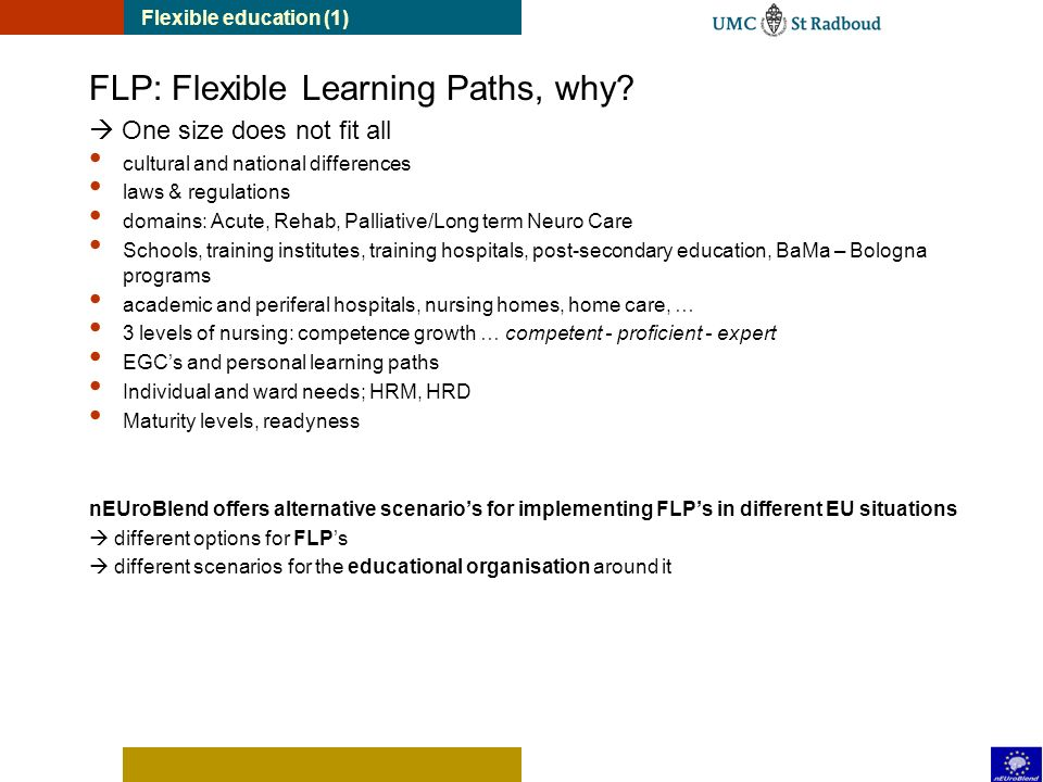 FLP: Flexible Learning Paths, why