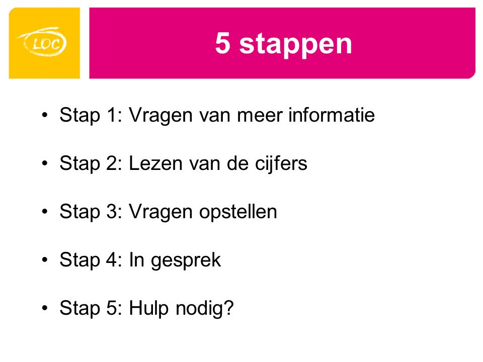 5 stappen LOC Zorggeld 030 2843200 vraagbaak@loc.nl