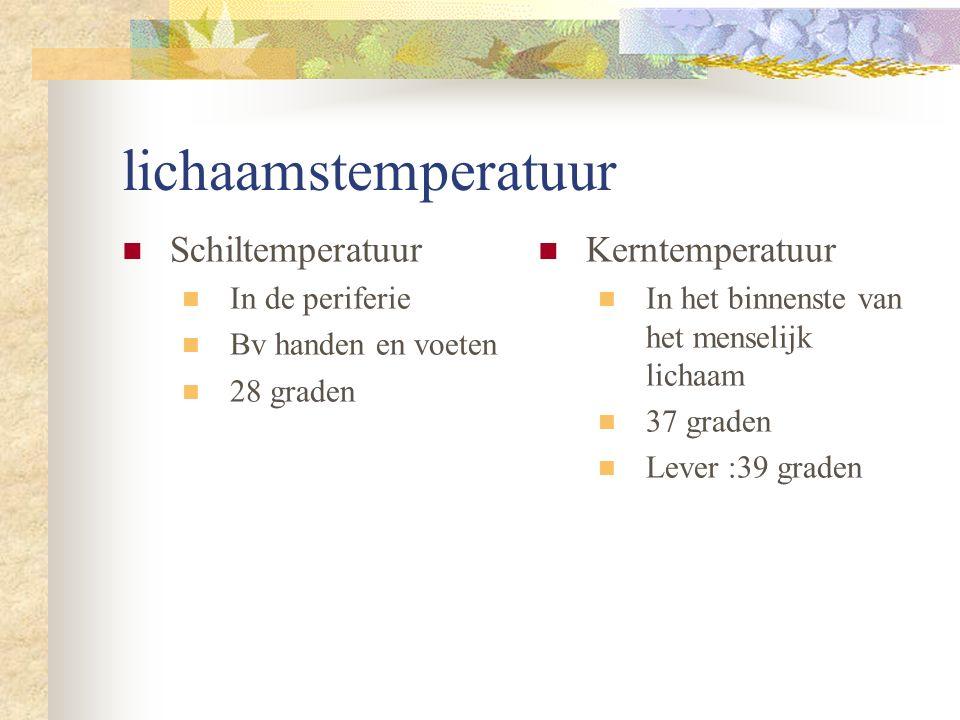 lichaamstemperatuur Schiltemperatuur Kerntemperatuur In de periferie