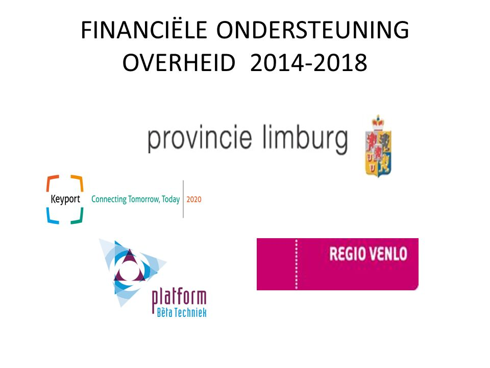 FINANCIËLE ONDERSTEUNING OVERHEID 2014-2018