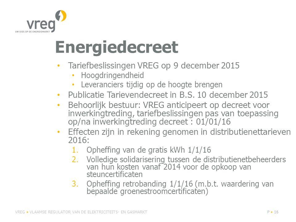 Energiedecreet Tariefbeslissingen VREG op 9 december 2015