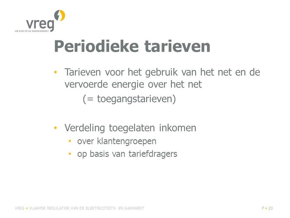 Periodieke tarieven Tarieven voor het gebruik van het net en de vervoerde energie over het net. (= toegangstarieven)