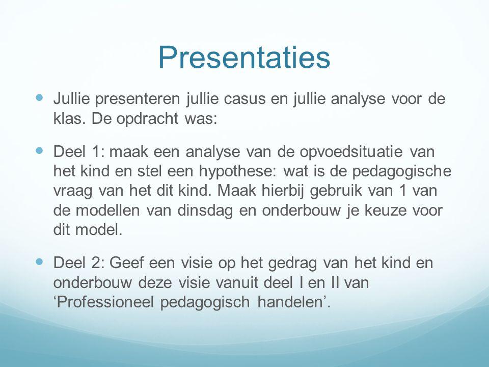 Presentaties Jullie presenteren jullie casus en jullie analyse voor de klas. De opdracht was: