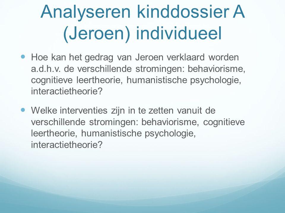 Analyseren kinddossier A (Jeroen) individueel
