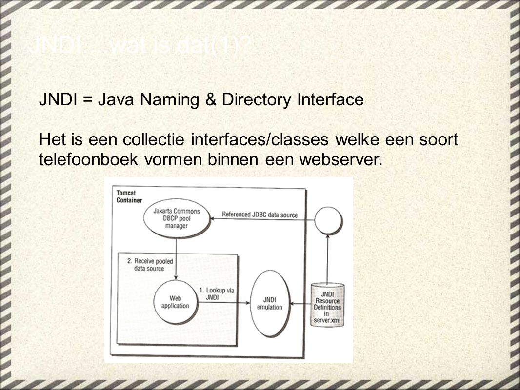 JNDI....wat is dat(1) JNDI = Java Naming & Directory Interface