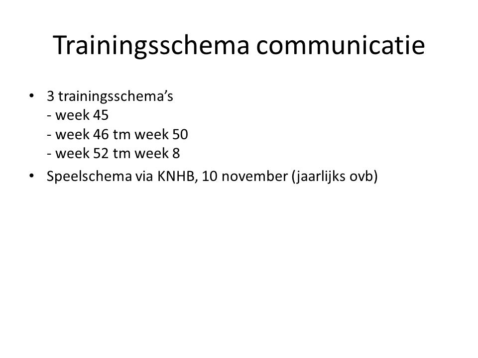 Trainingsschema communicatie