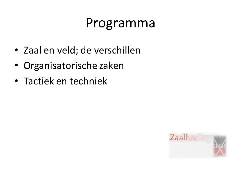 Programma Zaal en veld; de verschillen Organisatorische zaken