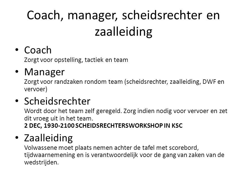 Coach, manager, scheidsrechter en zaalleiding