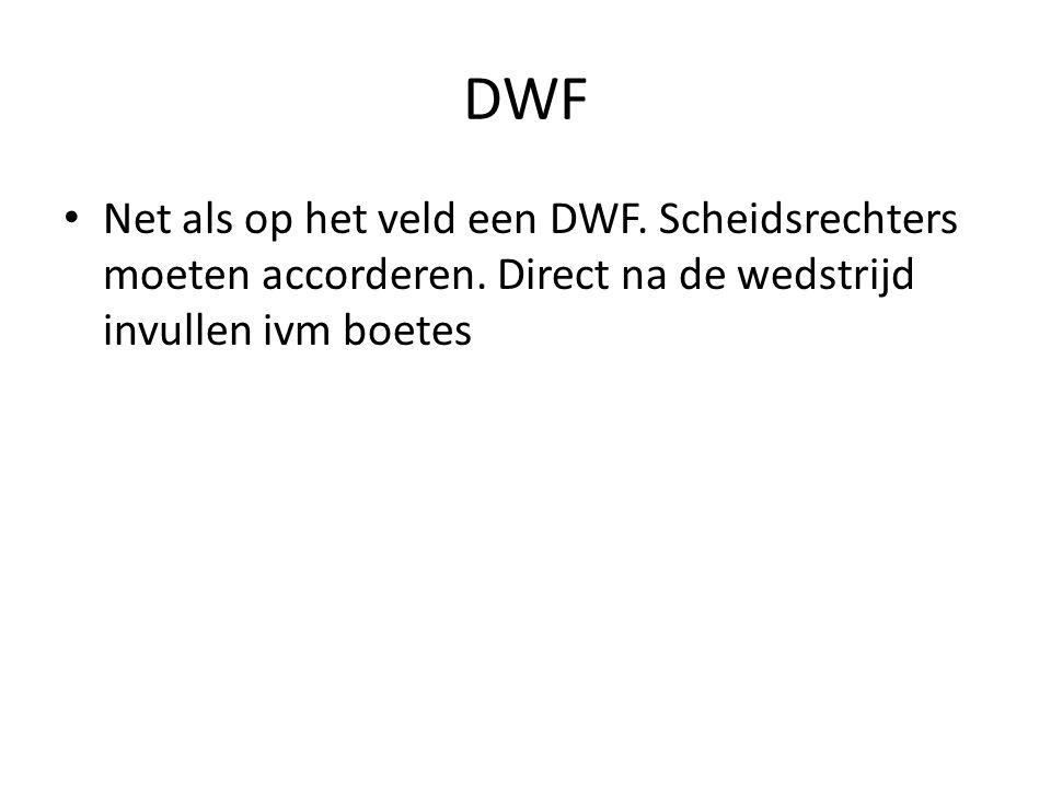 DWF Net als op het veld een DWF. Scheidsrechters moeten accorderen.