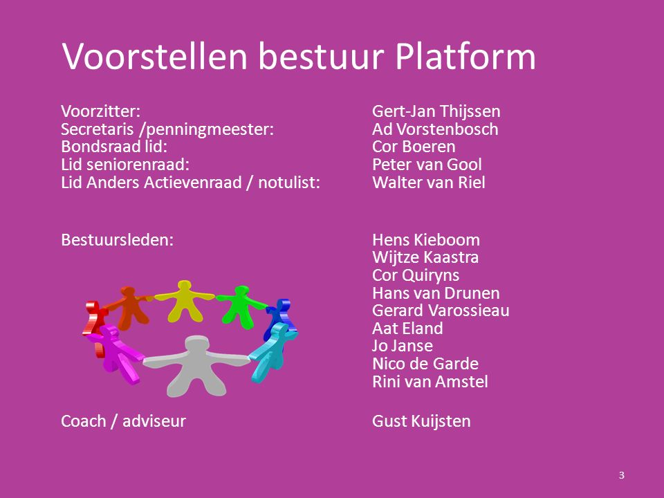 Voorstellen bestuur Platform