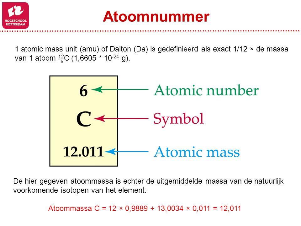 Atoomnummer 1 atomic mass unit (amu) of Dalton (Da) is gedefinieerd als exact 1/12 × de massa. van 1 atoom 12C (1,6605 * 10-24 g).