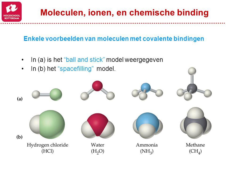 Enkele voorbeelden van moleculen met covalente bindingen