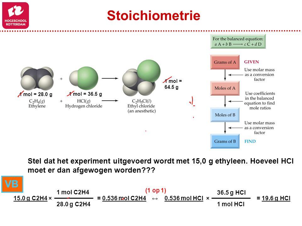 Stoichiometrie 1 mol = 64.5 g. 1 mol = 28.0 g. 1 mol = 36.5 g. Stel dat het experiment uitgevoerd wordt met 15,0 g ethyleen. Hoeveel HCl.