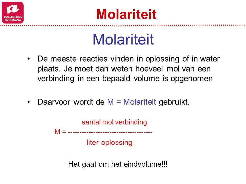 Molariteit Molariteit
