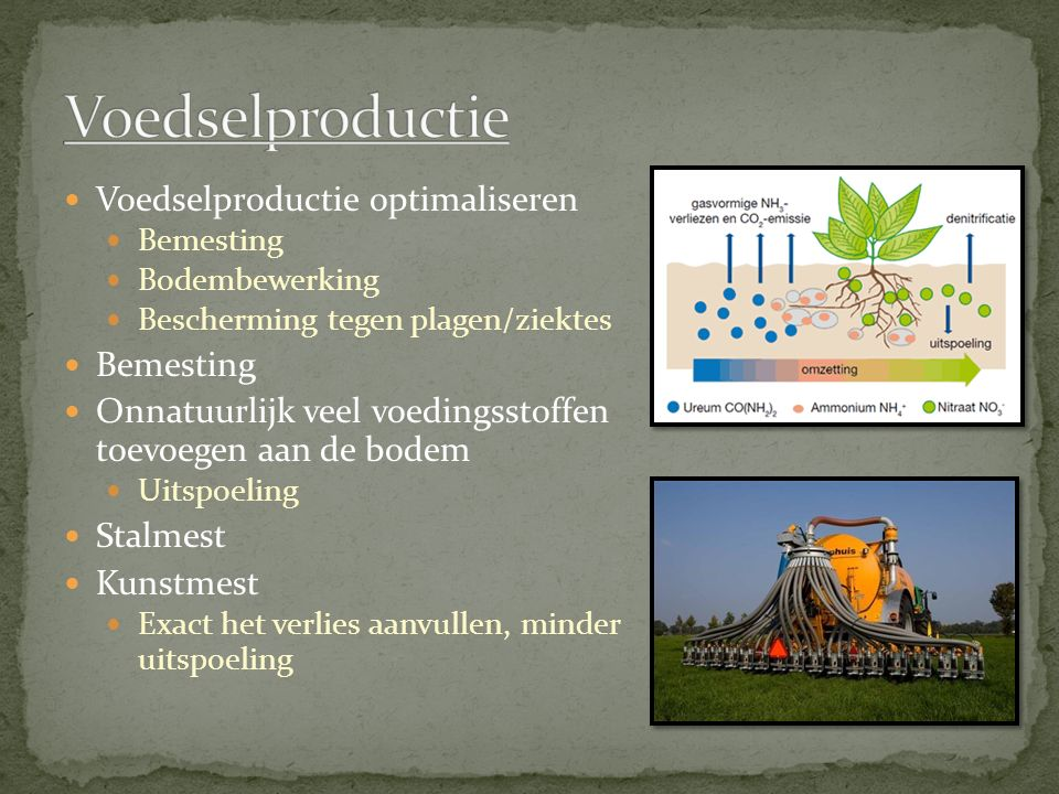 Voedselproductie Voedselproductie optimaliseren