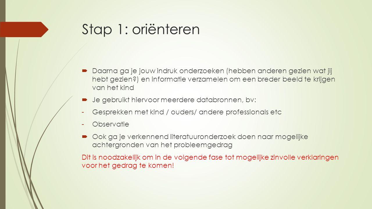Stap 1: oriënteren