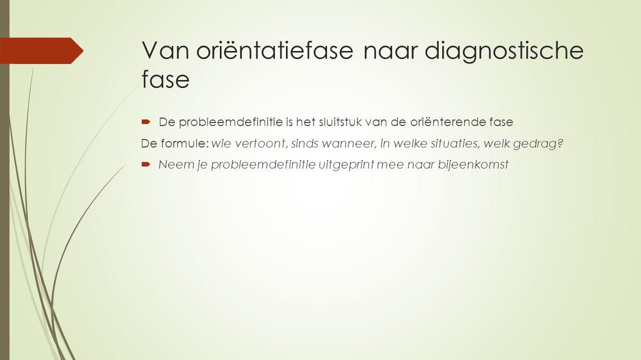 Van oriëntatiefase naar diagnostische fase