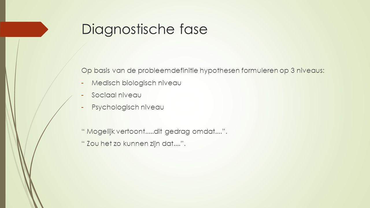 Diagnostische fase Op basis van de probleemdefinitie hypothesen formuleren op 3 niveaus: Medisch biologisch niveau.