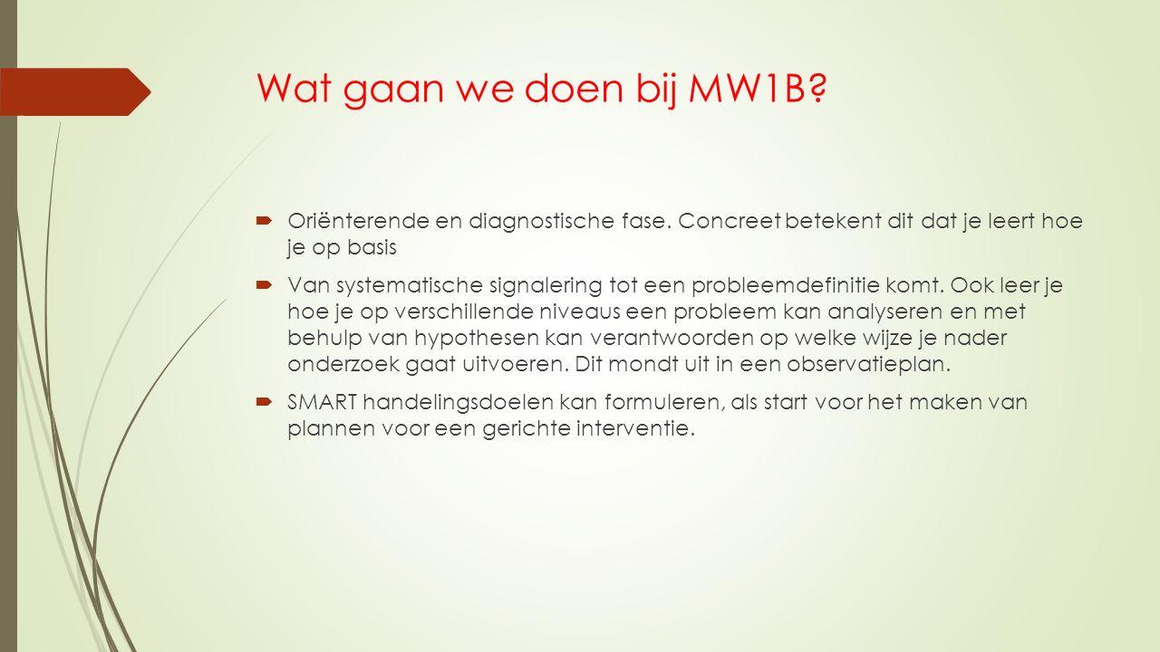 Wat gaan we doen bij MW1B Oriënterende en diagnostische fase. Concreet betekent dit dat je leert hoe je op basis.